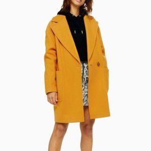 Topshop Oversized Mustard Yellow Carly Pea coat 8